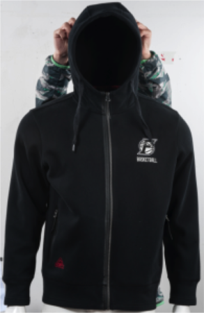 PEAK FIBA pánska mikina s kapucňou - black